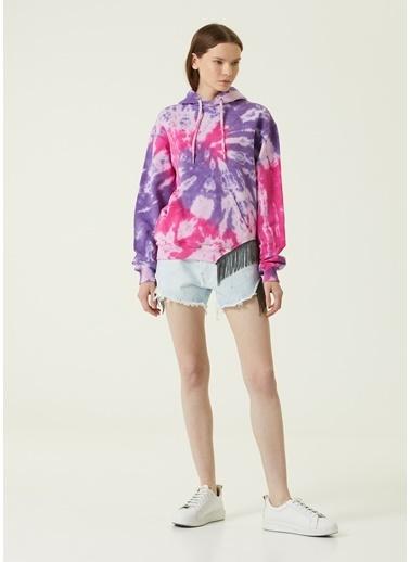Forte Couture Forte Couture Kapüşonlu Uzun Kol Pamuk Polyester Batik Desenli Zincir Püskül Detaylı Kanguru Cepli Çok Renkli Kadın Sweatshirt Renkli